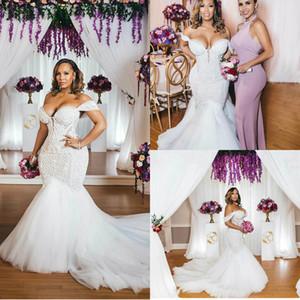 Elegant Plus Size Mermaid Wedding Dresses Off Shoulder Lace Appliques Bridal Gowns Sweep Train Illusion Backless Wedding Dress