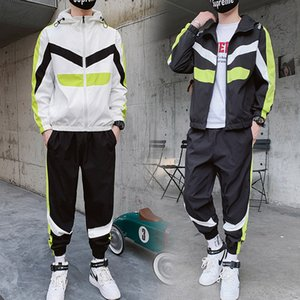 Tracksuit Set Men 2020 Autumn Sporting Suit Hooded Sweatshirts+Pant Hip Hop Patchwork Two Piece Set For Men Sweatsuit Clothing