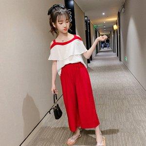 2020 2020 Summer New Girls Costume robe d'été en mousseline de soie une épaule jambe large 9 Pantalon Pointe super coréen des Affaires étrangères Deux Set Piece De Bosij EkjU #