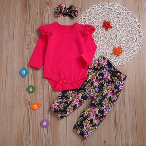 Children's Three-piece Set Pullover Print Rompers Suit Wine Red Round Neck Long-sleeved Robe Floral Floral Trousers Hair Band