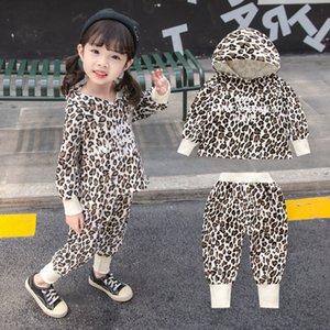 Bambino bambini delle neonate manica lunga Set Leopard Print increspature SUPERA IL T pantaloni abiti casual Abbigliamento Primavera Autunno due set pezzi