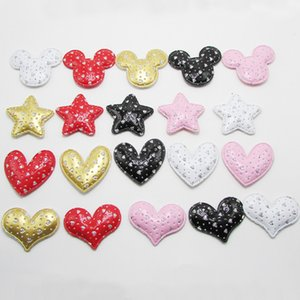 30pcs / lot multi style en cuir PU Diamond Star Tapis Patches Vêtements appliqués pour Craft Fournitures de couture bricolage Accessoires cheveux clip