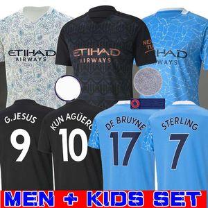 2020 2021 STERLING DE Bruyne Агуэро 19 KUN 20 21 манчестера футбола Джерси город Джерси футбол рубашка мужчины малыши комплекты комплекты униформа Mahrez Менди