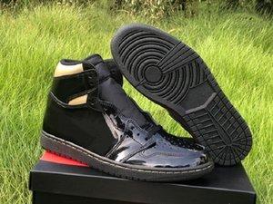 Special Edition 1 High OG Patent Chaussures Chaussures Black Gold Metallic Baskets mode Qualité navire avec la boîte