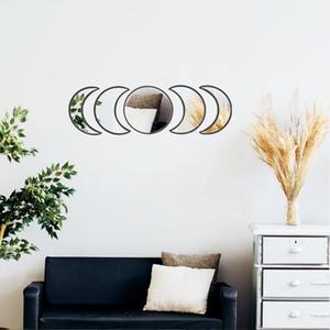 Scandinavian Decor Naturale acrilico Moonphase Specchi Interior Design in legno di fase della luna della decorazione della parete Specchio Boemia per Camera