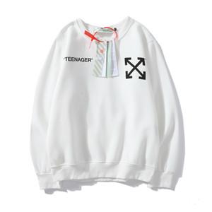 осень OWT футболка мультфильм Стрелок печать OFF пар рыхлый белый национальный свитер мода
