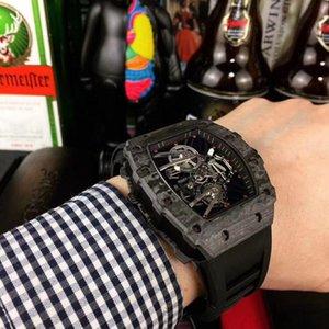 Nouveau Top Version RM27-01 TOURBILLON Magnolia Dial Miyota FLEUR mécaniques 19-02 Mens Watch Diamonds Case-bracelet en caoutchouc unisexe Montres Designer