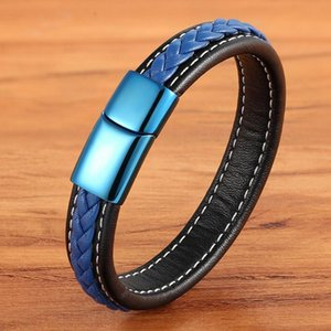 New Trend Leather Bracelet 7 Colors Men's Stainless Steel Leather Bracelet Stitching Combination Hand-woven Collection Gift