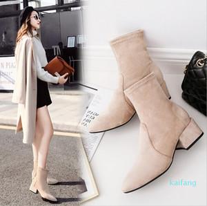 Hot Sale-Women's fashion Martin boots spring autumn winter new Korean Fashion Square Head thick heel short boot
