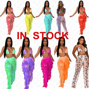 Tie dye digital print women designer mesh swimsuit girls swimwear push up bra halter top and pants 2 piece bikini set sexy tankinis D7614