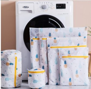 Pineapple Printing Zippered Mesh Laundry Bag Polyester Washing Net Bag For Underwear Sock Washing Machine Pouch Clothes Bra Bags DHD17