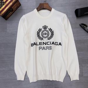 2020 Francia últimas letras Otoño Invierno suéteres pecho Jacquard de impresión casuales hombres de la moda de alta calidad mujeres superiores salvaje negro blanco