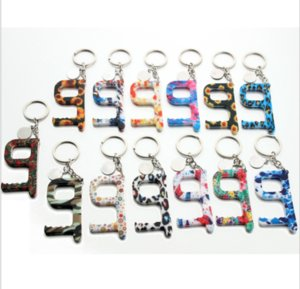 13style Portable Keychain No-Touch Elevator Button Tools Contactless EDC Door Opener Key Tool Sunflower Leopard Keychain Party Favor