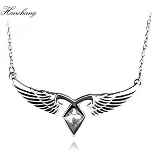 HANCHANG Jewelry Mortal Instruments City of Bones Aesh Angel Wings Power Rune Pendant Necklace Women Cosplay Christmas Paty Gift
