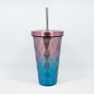 500ML 17oz Gradiente Caneca de aço inoxidável com palha Diamante Double Cup Travel Recados com tampa Beber Canecas Tumbler Straw Cup DBC DH1127
