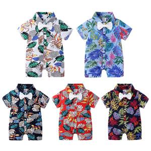 Summer Little Boy Girl Print Bow Tie Romper Clothes Christmas Toddler Floral Cotton Jumpsuit Playsuit Newborn Baby Pelele Bodysuit 0-2 Year