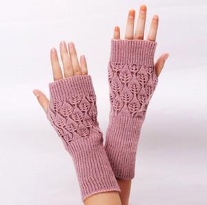 Luvas oco Out luvas sem dedos Lady Longo Mitt metade do dedo da luva Outono-Inverno luvas sem dedos braço Hand Warmer Mittens LSK410