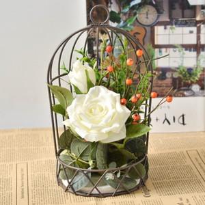 Кованого железа Birdcage цветок Стенд Искусственный цветок Kit Реалистичная Декоративные Реквизит Гостиная Свадьба Home Decor