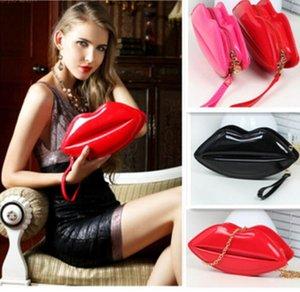 인기있는 큰 입술 패턴 여성 레이디 클러치 체인 Shouder 가방 저녁 가방 레드 입술 모양 지갑 가죽 여성 핸드백 8 색
