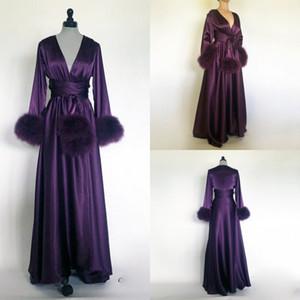 Lila Damen Bademantel Nachthemd aus Seide und Satin Nachtwäsche Brautkleiderbrautjungfern-Braut-Kleid petites plus Größe nach Maß