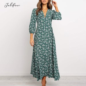 Elegant V Neck Wrist Sleeve Buttons Autumn Women Vintage Printed Long Dress A-Line Ankle-Length 2019 New Casual Dresses Vestido