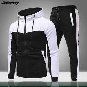 Men Casual Sets 2020 Spring New Solid Splice Jogger Tracksuit Zipper Hoodies+Pants 2PC Sets Men's Sportswear Sport Suit Clothing