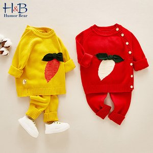 Humor Bear Infant Baby Sweater Sets Carrot Sweater Tops + Pants Autumn Toddler Boys Knitted Suits Winter Girls Knitting Clothes