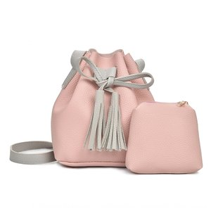 2019 fashion hand satchel hand pebbled leather tote with pouch bag women's two-piece shoulder over-the-shoulder bag