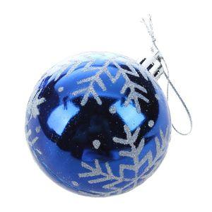 6pcs arbre de Noël Boules Diamètre de couleur flocon de neige Dessin Décorations de Noël partie de boule ornement de mariage (bleu)