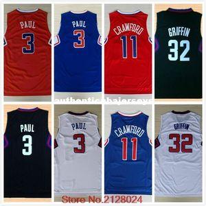 # 3 Paul Jersey ricamati basket # 32 Blake Griffin del pullover # 11 Jamal Crawford maglia di alta qualità di formato S-XXL NCAA College