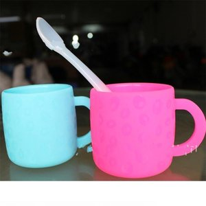 Children Cup With Handle Edible Grade Anti Fall Scald Baby Safety Nontoxic Silicone Mug Polychromatic Environmental Hot Sale 10ty V