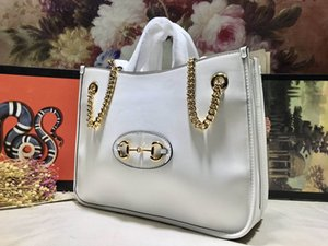 Новое поступление летних женщин натуральной кожи Horsebit тотализаторов бренд дизайнер моды плечо сумки женская цепь большие сумки емкость