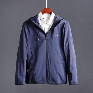 2019 men's autumn A navy blue hooded zip casual 2019 men's autumn A Jacket zipper zipper navy blue hooded zip casual jacket
