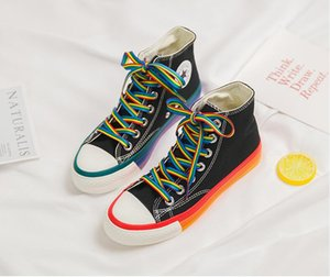 Fashion rainbow bottom women sneakers 2020 high top sneakers women designer shoes canvas shoes