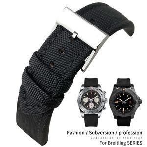 Pelle 22 millimetri superiore Nylon Canvas Fabric Watch Strap Per Breitling Vendicatore Nero cinturino in acciaio 20 millimetri Ago Fibbia per mens Strumenti gratuiti