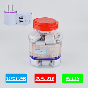 2.1A Dual USB Ladegerät in Kunststoffgefß Ladegerät jede Mobiltelefon mit bunten Rahmen Wandadapter zwei USB-Anschluss