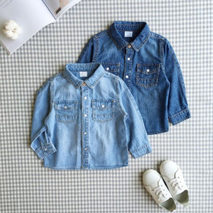 20192 boys and girls Korean style cotton soft denim shirt children's 3-year-old baby long sleeve thin shirt trendy