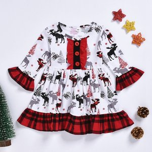 Christmas Baby Girl Clothes Flare Sleeve Toddler Dress Plaid Girls Dresses Boutique Baby Clothing Xmas Tree Deer Printed DW4785