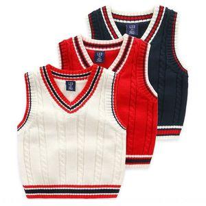 rJf3W boyssweater sonbahar penye pamuk kolsuz kolej tarzı Yelek giyim boyssweater sonbahar çocuk penye pamuk kolsuz colleg