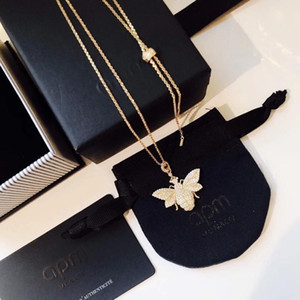 Women's Necklace Silver Inlay Diamond Wasp Gold Necklace for Sweater Chain Clavicle Chain Necklace