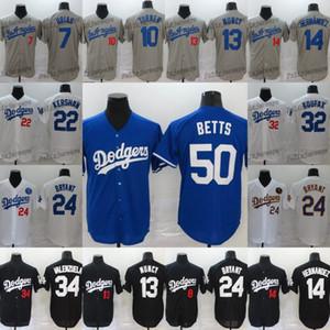 2020 Dodgers 50 Mokie Betts Jersey 35 Cody Bellinger 10 Justin Turner 13 Max Muncy 22 Clayton Kershaw 14 Enrique Hernandez Equipamentos