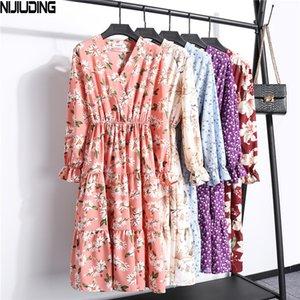 NIJIUDING Vintage Long Sleeve Elegant Dress V-Neck Chiffon Elastic Floral Pinting Party Dress Women Long Section Ladies Dresses