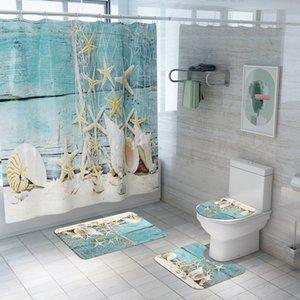 Nueva concha de impresión cortina de ducha impermeable de cuatro piezas estera del tocador del cuarto de baño Set Modelos hogar de la cortina de explosión