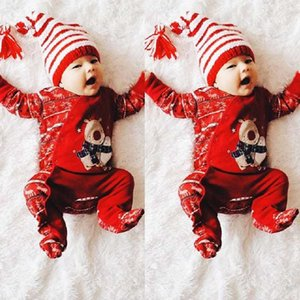 Christmas Newborn Infant Baby Boy Girl Print Hooded Romper Jumpsuit Cotton Clothes Xmas