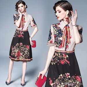 2020 New Summer Short Sleeve A-line Skirt Fashion European Lace-up Lapel Slim Printed Dress Party Dresses
