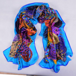 Brand Blue Ladies Long Scarf Summer Fashion Beach Shawl Cover Ups Women Pure Silk Scarves Wraps Yellow Orange CX200728