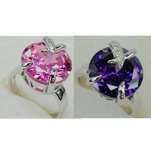 Fleure Esme cru bagues de fiançailles de mariage bijoux pour les femmes Violet Rose Zircon Plaqué Rhodium