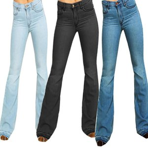 Jeans Women Flare Jeans Mid Waist Bell Stretch Slim Pants Length 2020 New Hot Sale Black Deals #xes