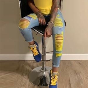 Moda rasgado rasguño de jeans para mujeres Pantalones de mezclilla amarillo talle alto flaco pantalones del lápiz ahuecan hacia fuera atractivo femenino Jean Mujer