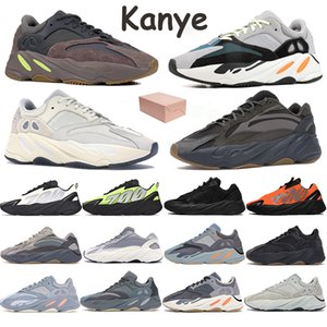 700 do corredor da onda Reflective Kanye Mens Running Shoes Phosphor óssea Laranja Estático Analog sal Carbono Teal azuis Esportes formadores com caixa